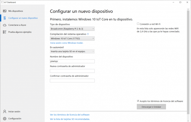 Captura de pantalla del panel de configuración de dispositivo de Windows 10 IoT Dashboard